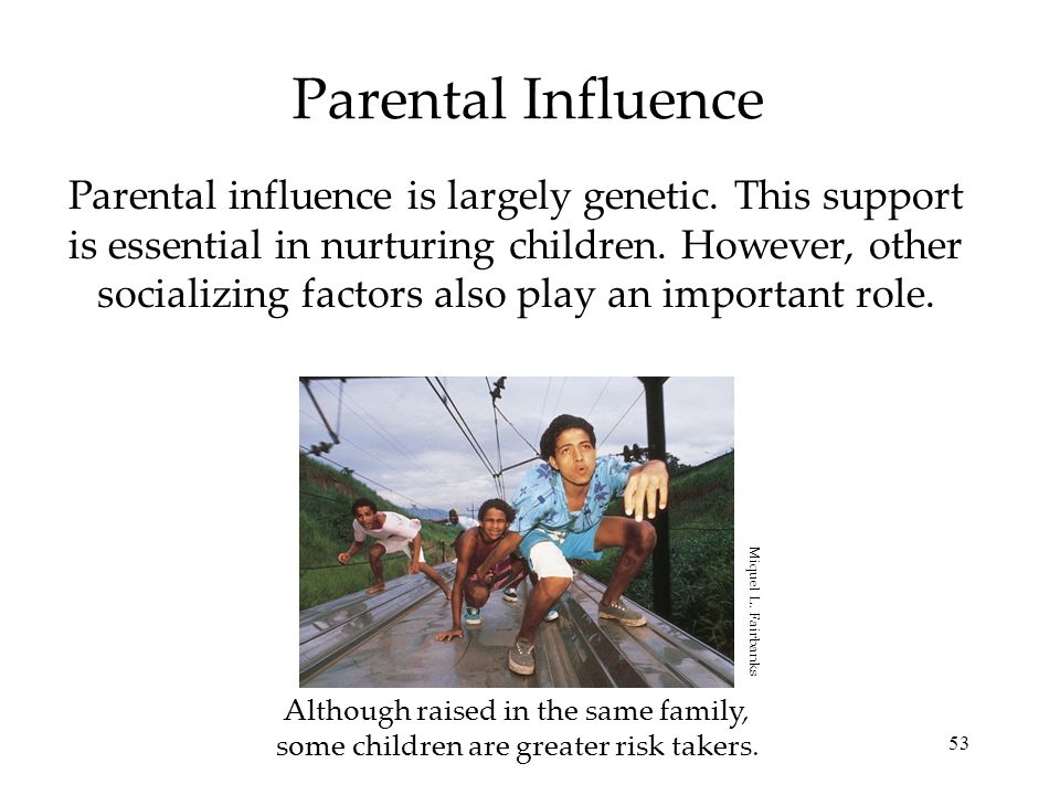 53 Parental Influence Parental influence is largely genetic. This support is essential in nurturing children. However, other socializing factors also