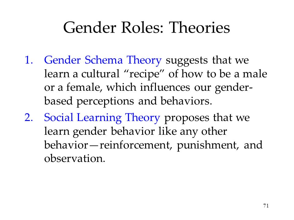 71 Gender Roles: Theories 1.Gender Schema Theory suggests that we learn a cultural recipe of how to be a male or a female, which influences our gender- based perceptions and behaviors.