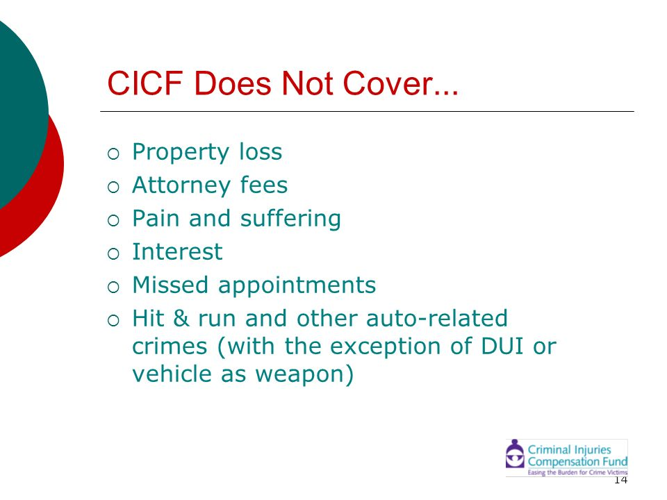 14 CICF Does Not Cover... Property loss Attorney fees Pain and suffering Interest Missed appointments Hit & run and other auto-related crimes (with th