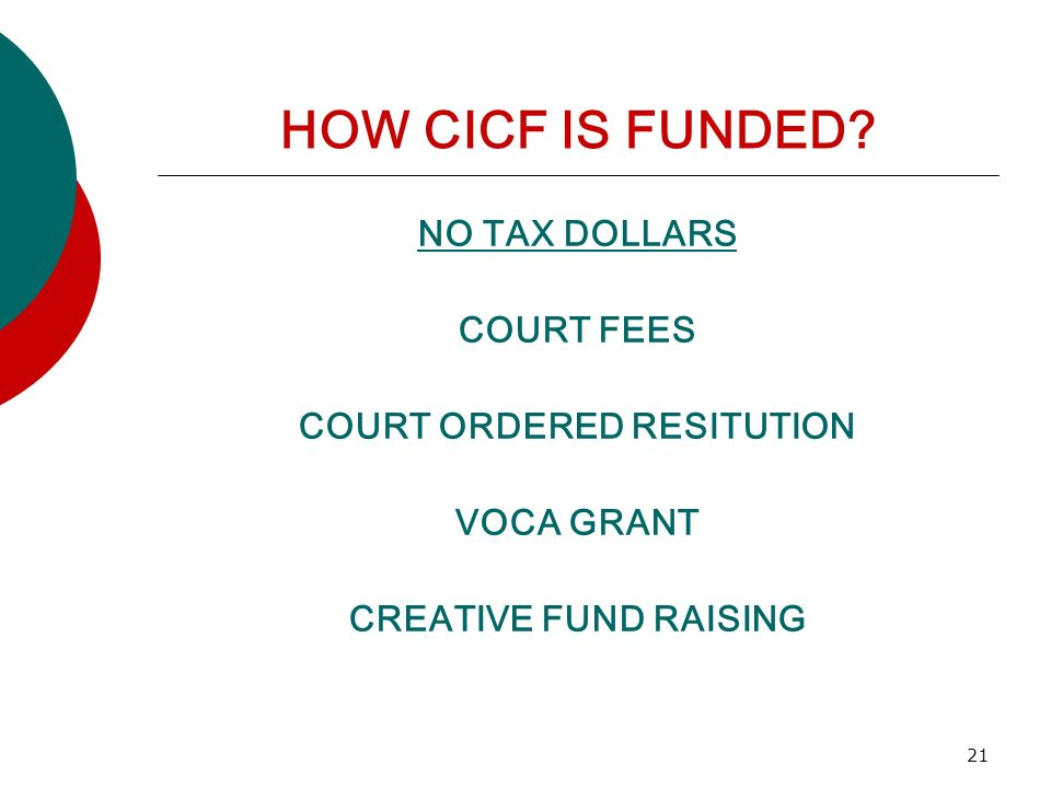21 HOW CICF IS FUNDED? NO TAX DOLLARS COURT FEES COURT ORDERED RESITUTION VOCA GRANT CREATIVE FUND RAISING