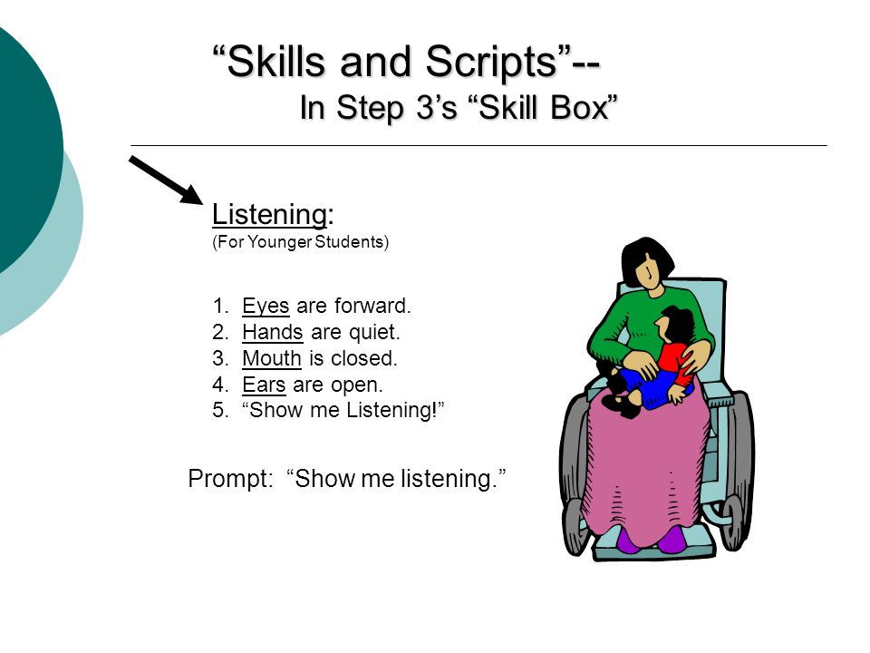 Skills and Scripts-- In Step 3s Skill Box Listening: (For Younger Students) 1. Eyes are forward. 2. Hands are quiet. 3. Mouth is closed. 4. Ears are o