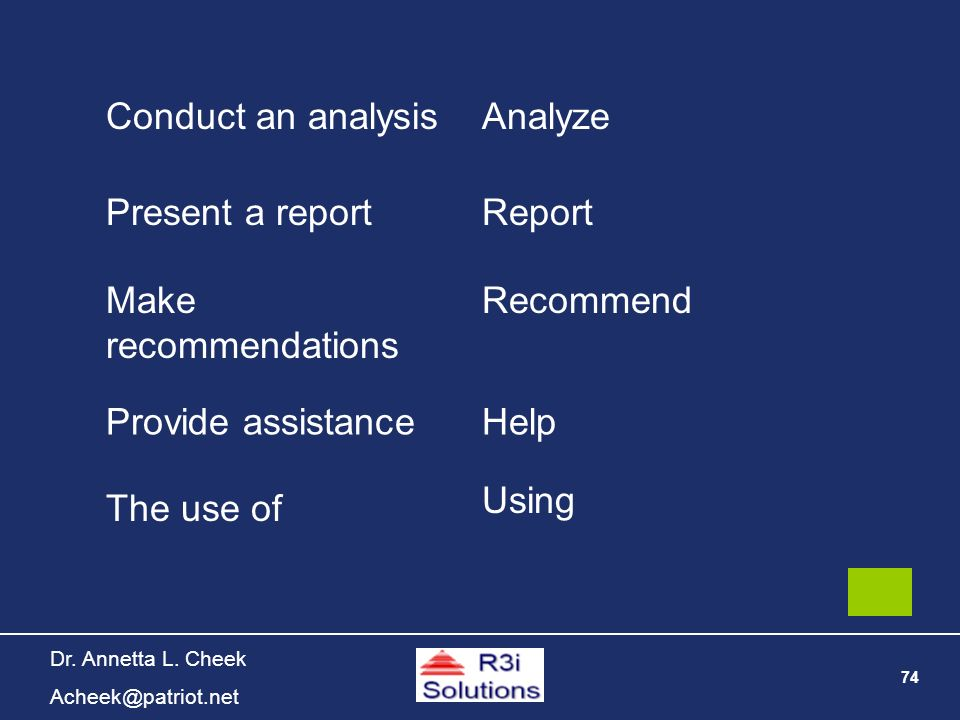 74 Dr. Annetta L. Cheek Acheek@patriot.net Conduct an analysisAnalyze Present a reportReport Make recommendations Recommend Provide assistanceHelp The