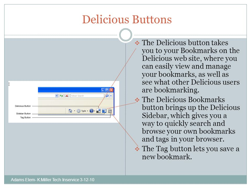 Delicious Buttons The Delicious button takes you to your Bookmarks on the Delicious web site, where you can easily view and manage your bookmarks, as well as see what other Delicious users are bookmarking.