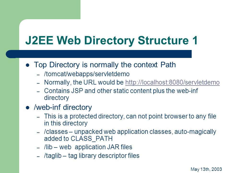 May 13th, 2003 J2EE Web Directory Structure 1 Top Directory is normally the context Path – /tomcat/webapps/servletdemo – Normally, the URL would be http://localhost:8080/servletdemohttp://localhost:8080/servletdemo – Contains JSP and other static content plus the web-inf directory /web-inf directory – This is a protected directory, can not point browser to any file in this directory – /classes – unpacked web application classes, auto-magically added to CLASS_PATH – /lib – web application JAR files – /taglib – tag library descriptor files
