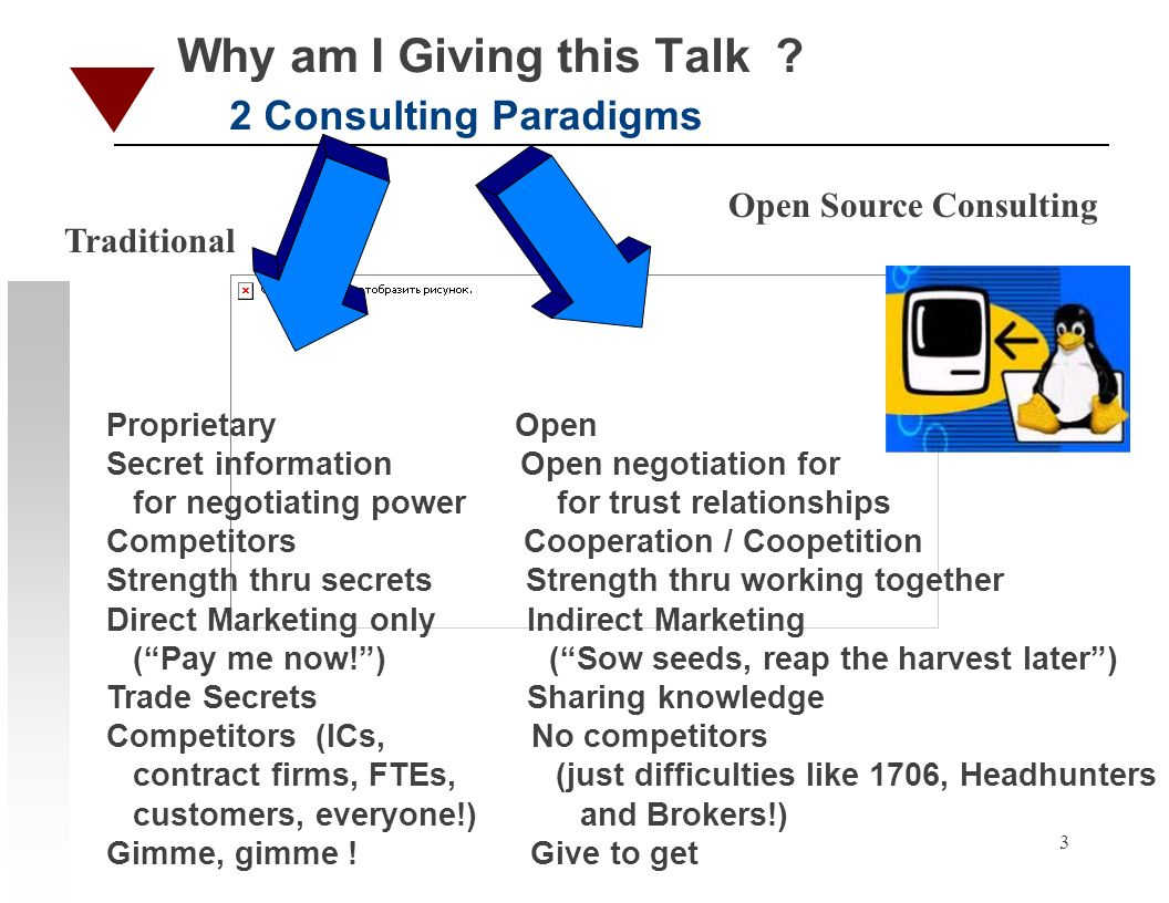 3 Why am I Giving this Talk ? 2 Consulting Paradigms Proprietary Open Secret information Open negotiation for for negotiating power for trust relation