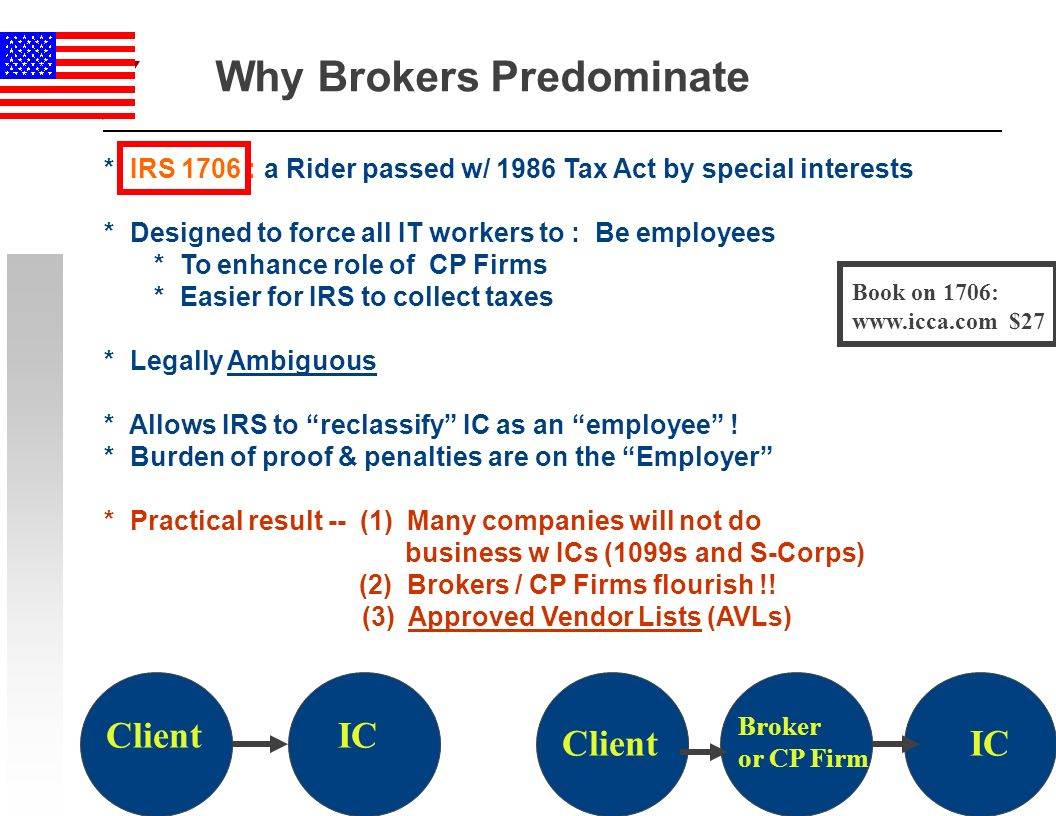 31 Why Brokers Predominate * IRS 1706 : a Rider passed w/ 1986 Tax Act by special interests * Designed to force all IT workers to : Be employees * To