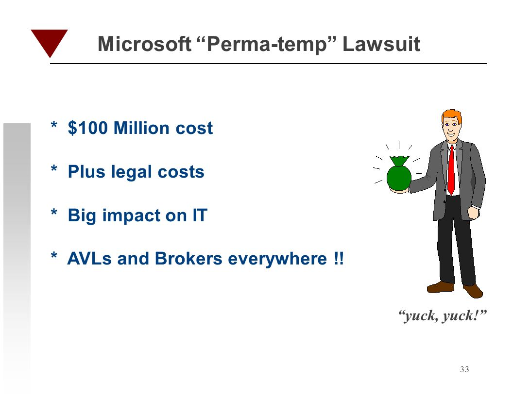 33 Microsoft Perma-temp Lawsuit * $100 Million cost * Plus legal costs * Big impact on IT * AVLs and Brokers everywhere !! yuck, yuck!