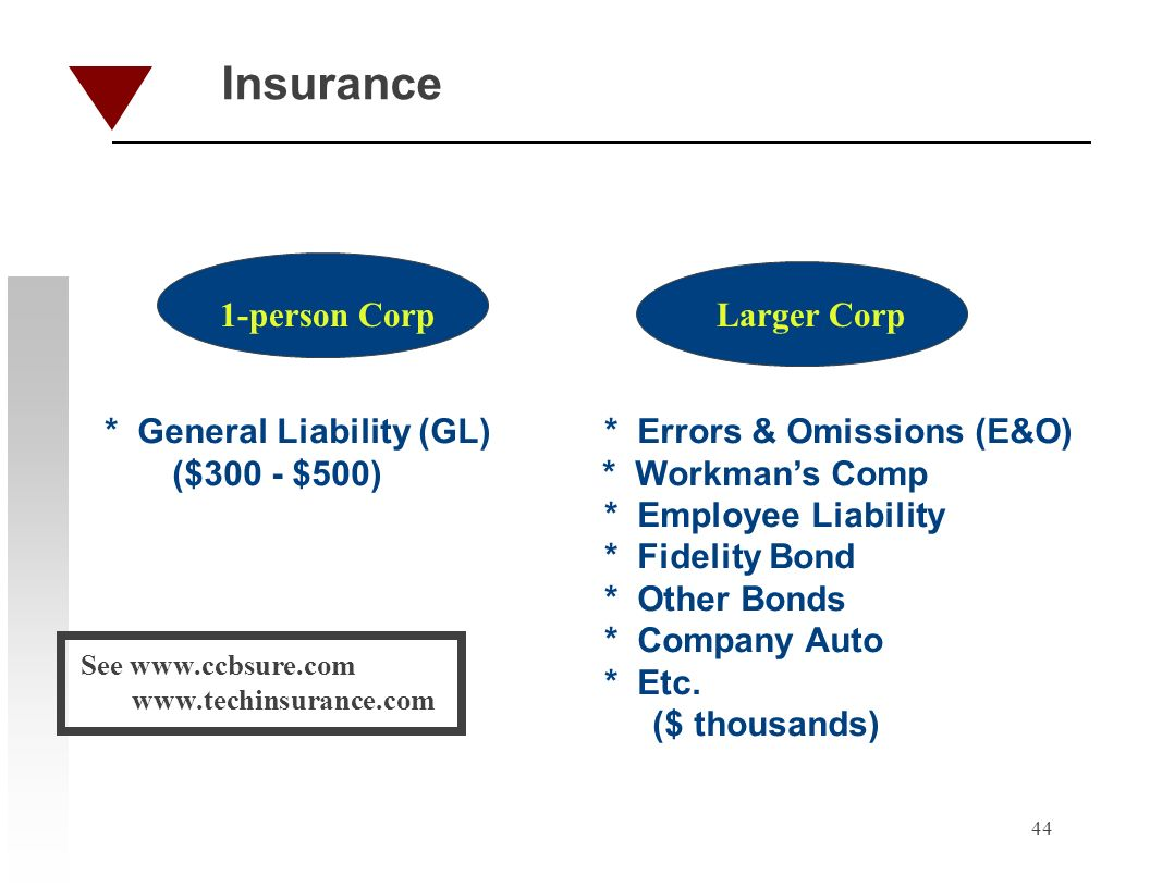 44 Insurance 1-person CorpLarger Corp * General Liability (GL) * Errors & Omissions (E&O) ($300 - $500) * Workmans Comp * Employee Liability * Fidelit