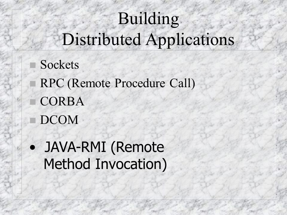 Overview Of RMI Architecture n Transparent transmission of objects from one address space to another by object serialization (java language specific) n A client invoking a method on a remote object actually makes use of a stub or proxy for the remote object, as a conduit to the remote object n The remote reference layer is responsible for carrying out the semantics of the invocation
