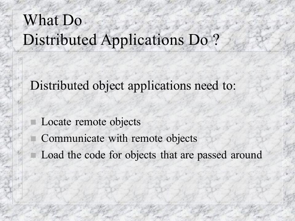 Building Distributed Applications n Sockets n RPC (Remote Procedure Call) n CORBA n DCOM JAVA-RMI (Remote Method Invocation)