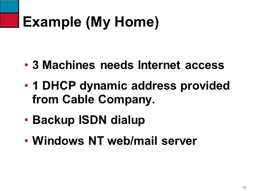 14 Example (My Home) 3 Machines needs Internet access 1 DHCP dynamic address provided from Cable Company.