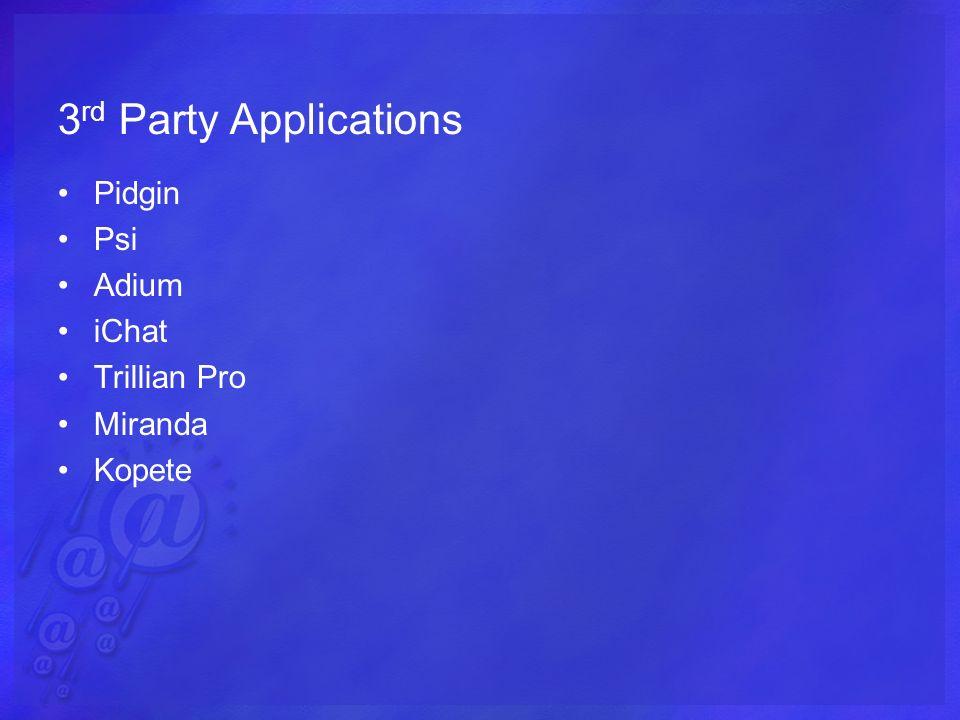 3 rd Party Applications Pidgin Psi Adium iChat Trillian Pro Miranda Kopete
