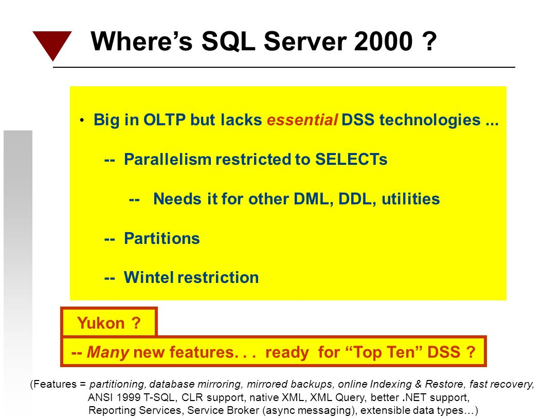 Wheres SQL Server 2000 . Big in OLTP but lacks essential DSS technologies...