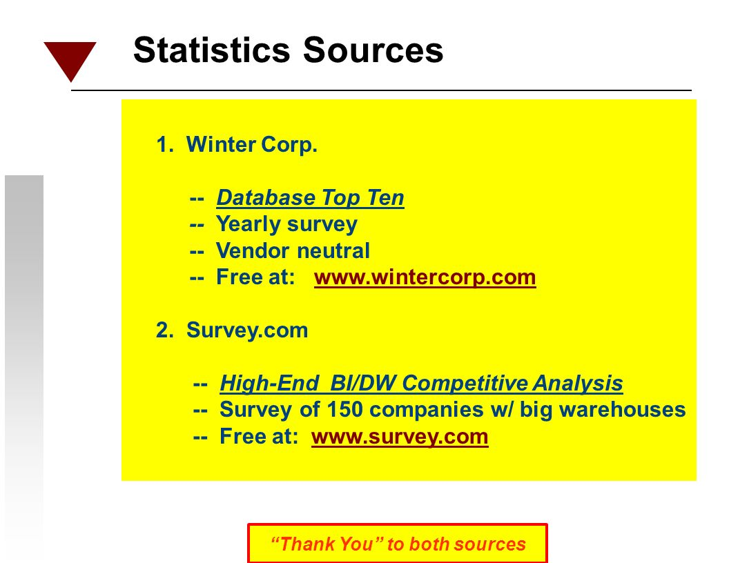 Statistics Sources 1. Winter Corp.