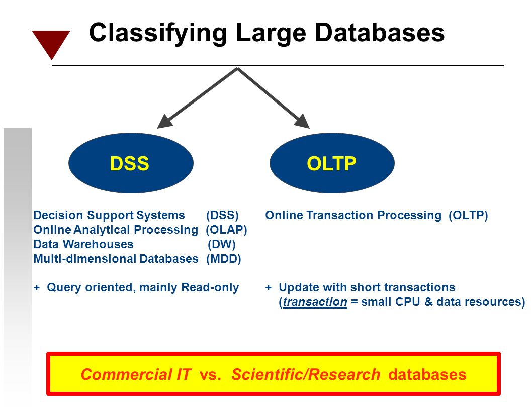 Classifying Large Databases DSSOLTP Decision Support Systems (DSS) Online Analytical Processing (OLAP) Data Warehouses (DW) Multi-dimensional Databases (MDD) + Query oriented, mainly Read-only Online Transaction Processing (OLTP) + Update with short transactions (transaction = small CPU & data resources) Commercial IT vs.