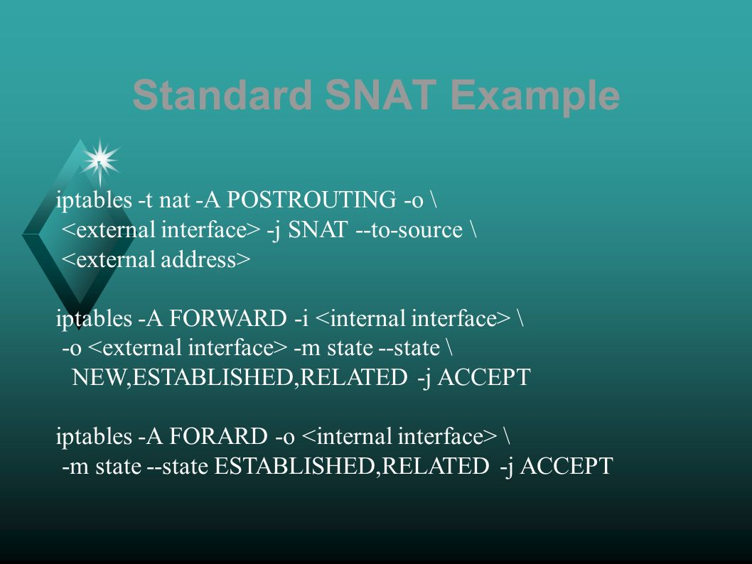 Standard SNAT Example iptables -t nat -A POSTROUTING -o \ -j SNAT --to-source \ iptables -A FORWARD -i \ -o -m state --state \ NEW,ESTABLISHED,RELATED -j ACCEPT iptables -A FORARD -o \ -m state --state ESTABLISHED,RELATED -j ACCEPT