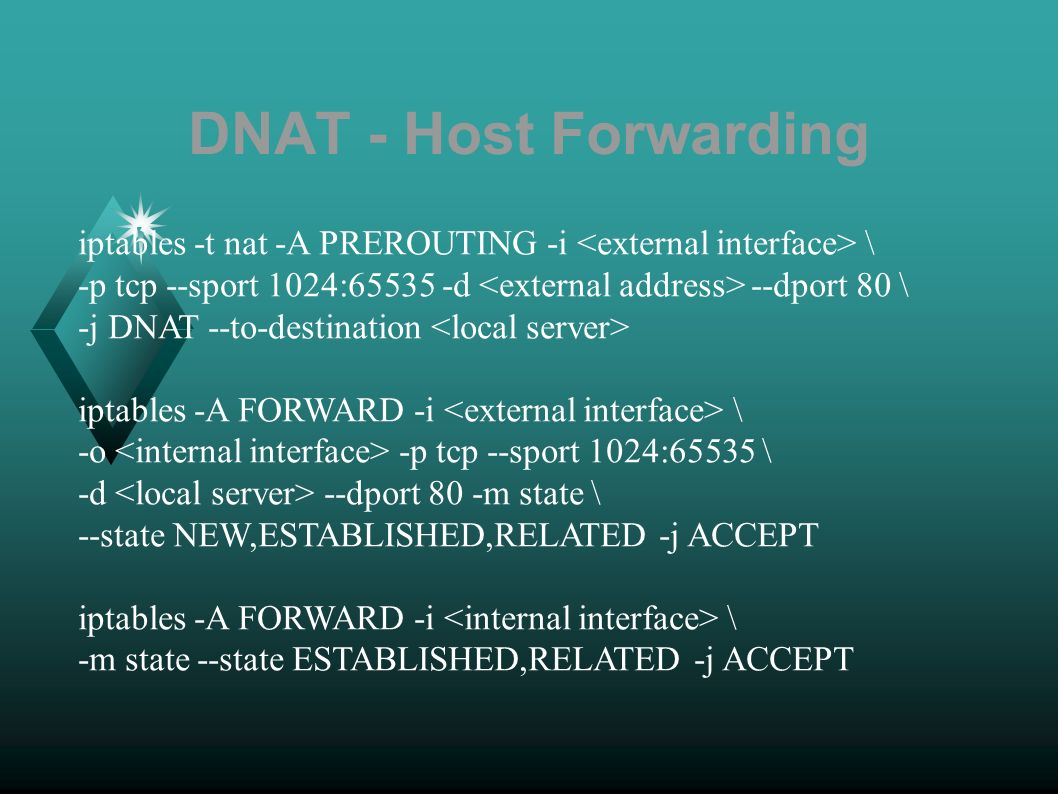 DNAT - Host Forwarding iptables -t nat -A PREROUTING -i \ -p tcp --sport 1024:65535 -d --dport 80 \ -j DNAT --to-destination iptables -A FORWARD -i \ -o -p tcp --sport 1024:65535 \ -d --dport 80 -m state \ --state NEW,ESTABLISHED,RELATED -j ACCEPT iptables -A FORWARD -i \ -m state --state ESTABLISHED,RELATED -j ACCEPT