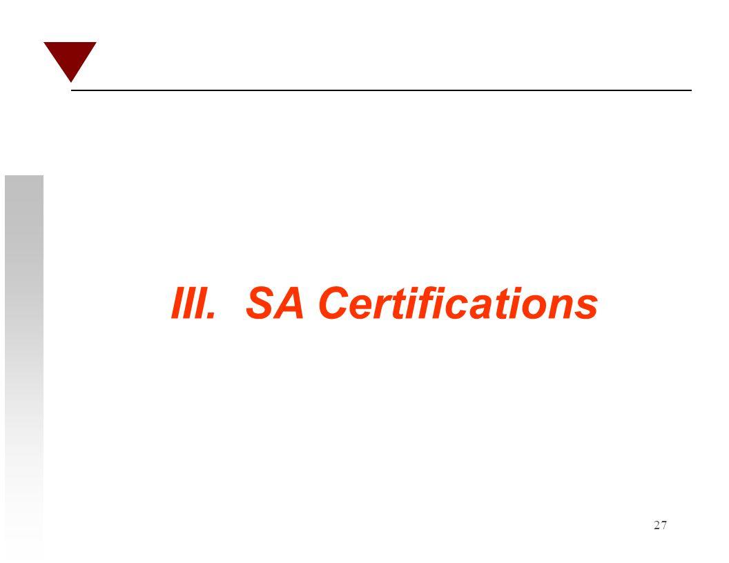 27 III. SA Certifications
