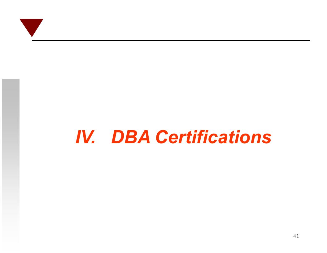 41 IV. DBA Certifications