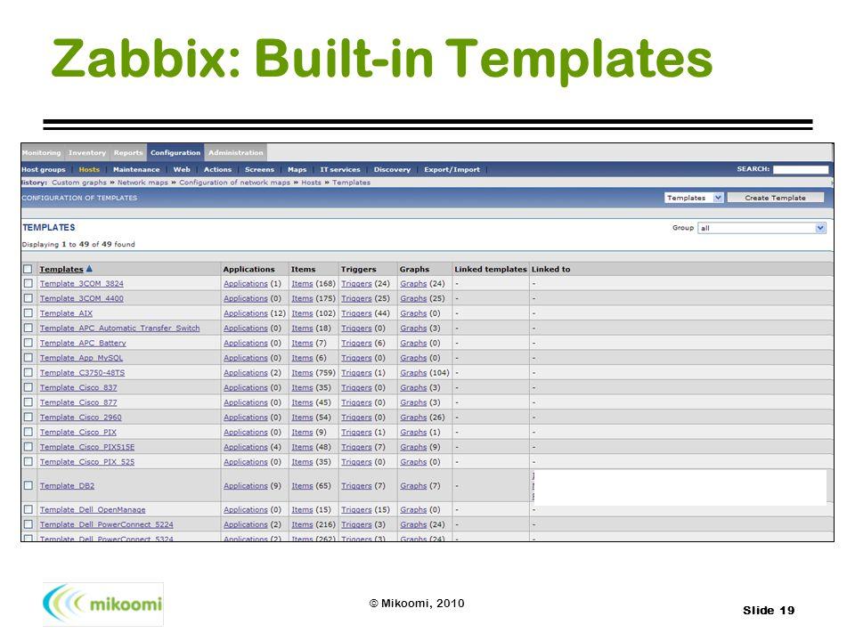 Slide 19 © Mikoomi, 2010 Zabbix: Built-in Templates