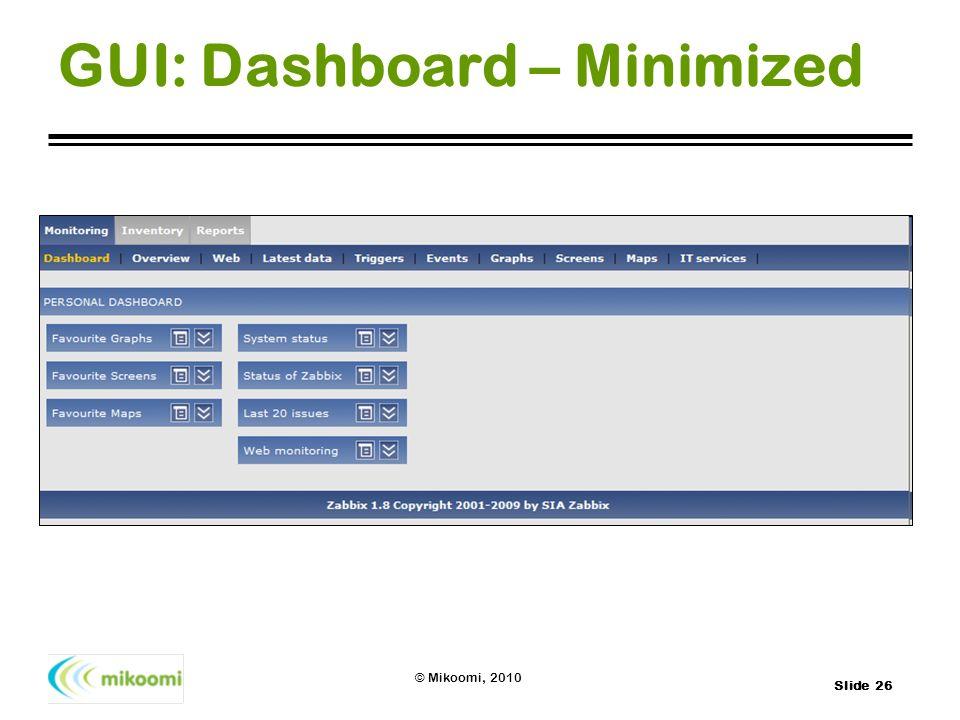 Slide 26 © Mikoomi, 2010 GUI: Dashboard – Minimized