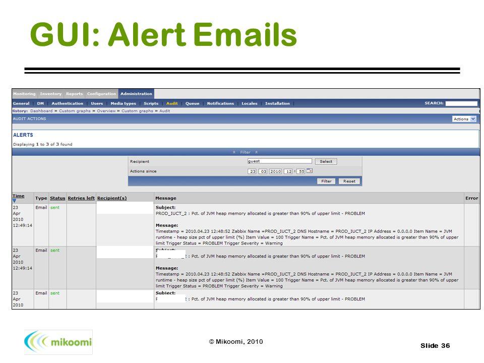 Slide 36 © Mikoomi, 2010 GUI: Alert Emails
