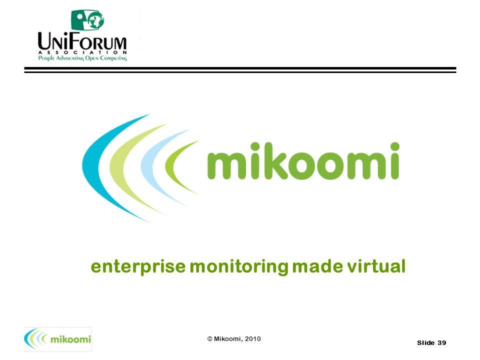 Slide 39 © Mikoomi, 2010 enterprise monitoring made virtual