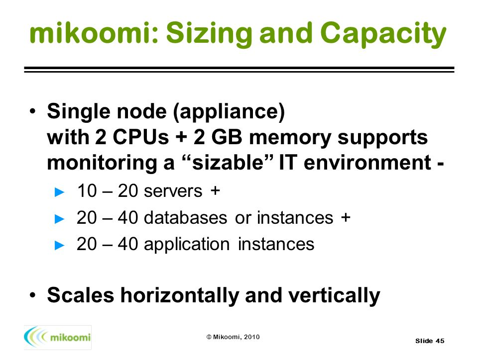 Slide 45 © Mikoomi, 2010 mikoomi: Sizing and Capacity Single node (appliance) with 2 CPUs + 2 GB memory supports monitoring a sizable IT environment -