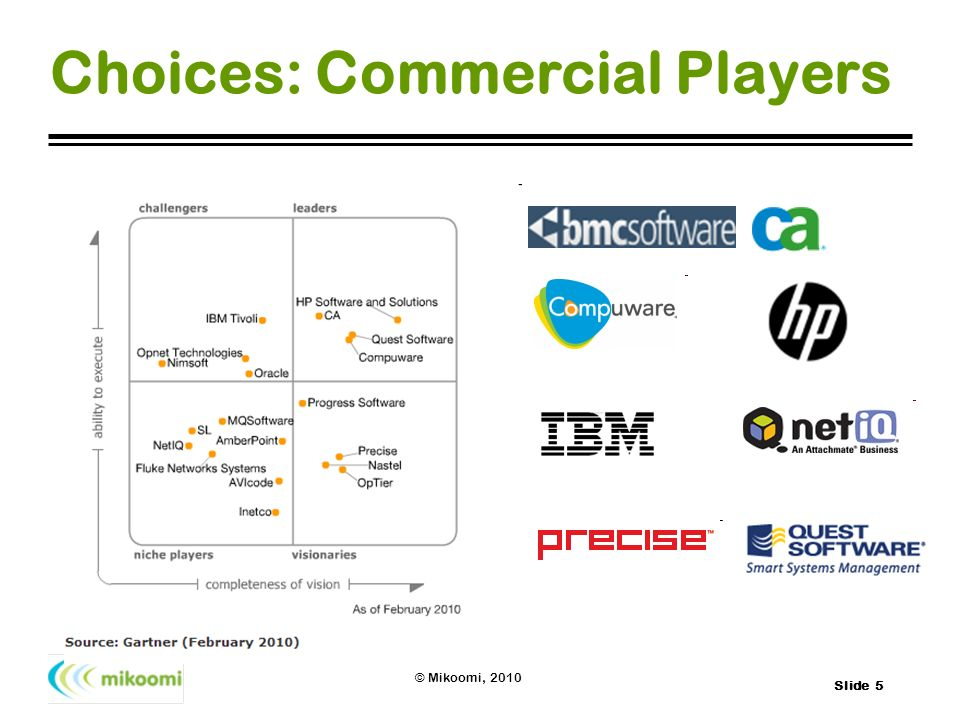 Slide 5 © Mikoomi, 2010 Choices: Commercial Players