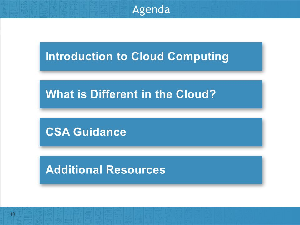 Insert presenter logo here on slide master Agenda 10 Introduction to Cloud ComputingWhat is Different in the Cloud?CSA GuidanceAdditional Resources
