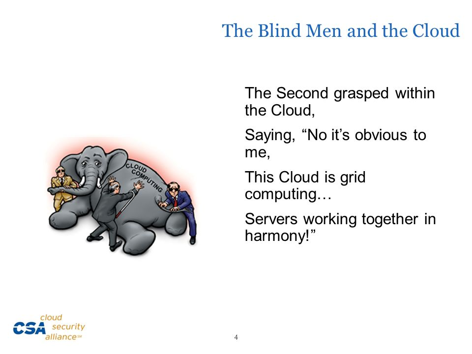 The Blind Men and the Cloud The Second grasped within the Cloud, Saying, No its obvious to me, This Cloud is grid computing… Servers working together