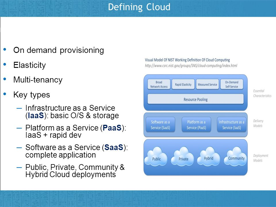 Insert presenter logo here on slide master Defining Cloud On demand provisioning Elasticity Multi-tenancy Key types – Infrastructure as a Service (Iaa