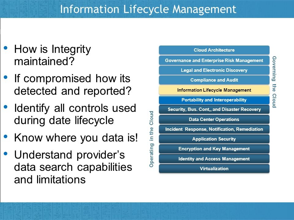 Insert presenter logo here on slide master Information Lifecycle Management How is Integrity maintained? How is Integrity maintained? If compromised h