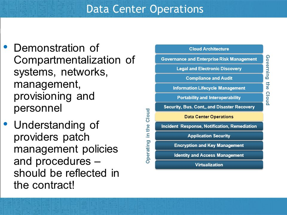 Insert presenter logo here on slide master Data Center Operations Demonstration of Compartmentalization of systems, networks, management, provisioning