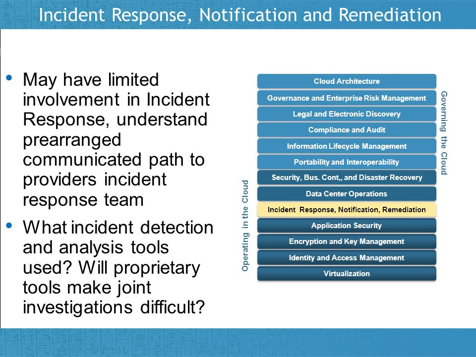 Insert presenter logo here on slide master Incident Response, Notification and Remediation May have limited involvement in Incident Response, understa