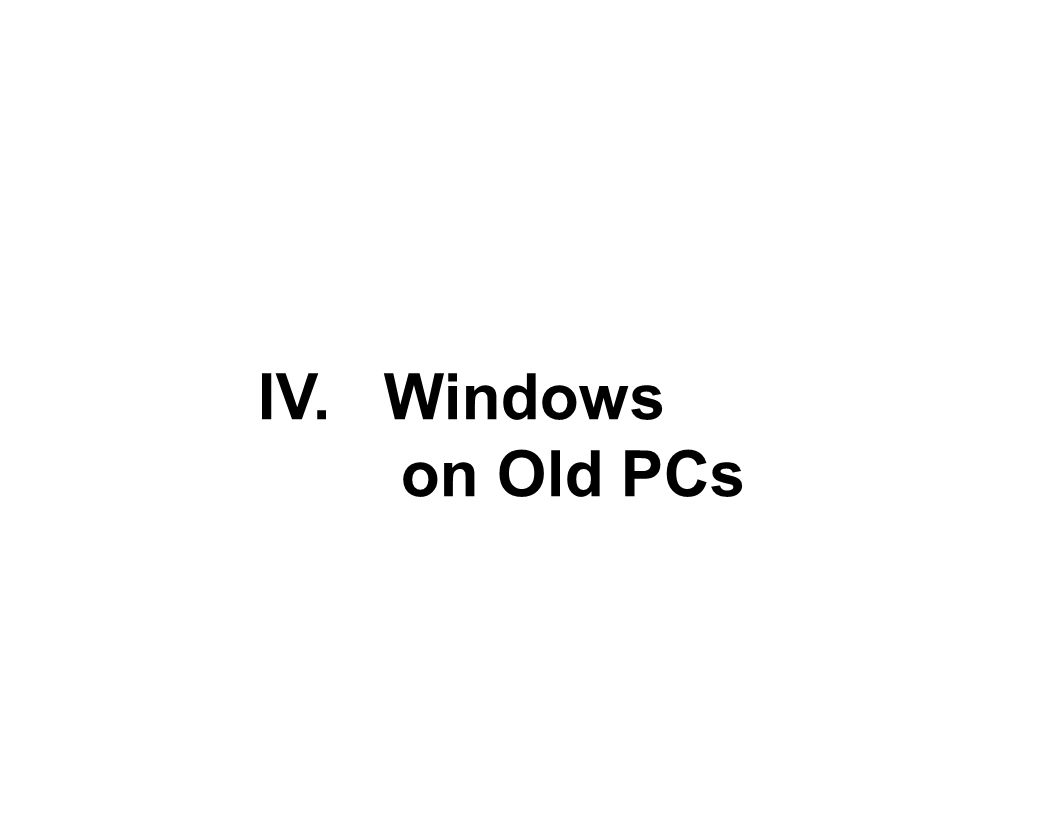 IV. Windows on Old PCs