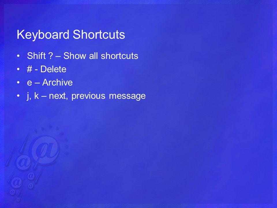 Keyboard Shortcuts Shift .