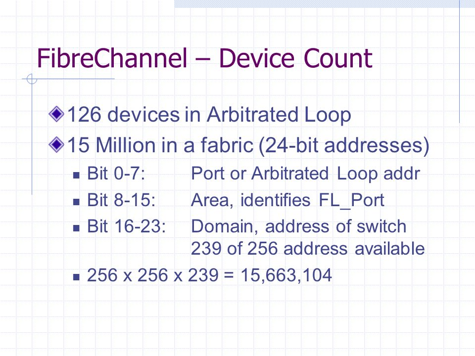 FibreChannel – Device Count 126 devices in Arbitrated Loop 15 Million in a fabric (24-bit addresses) Bit 0-7:Port or Arbitrated Loop addr Bit 8-15:Area, identifies FL_Port Bit 16-23:Domain, address of switch 239 of 256 address available 256 x 256 x 239 = 15,663,104