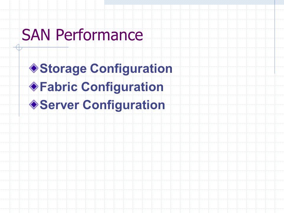 SAN Performance Storage Configuration Fabric Configuration Server Configuration