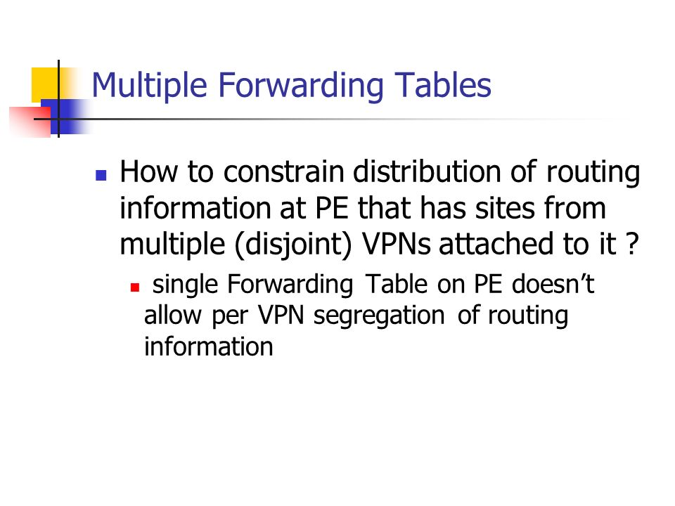Multiple Forwarding Tables How to constrain distribution of routing information at PE that has sites from multiple (disjoint) VPNs attached to it ? si