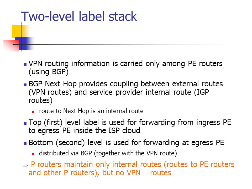 Two-level label stack VPN routing information is carried only among PE routers (using BGP) BGP Next Hop provides coupling between external routes (VPN