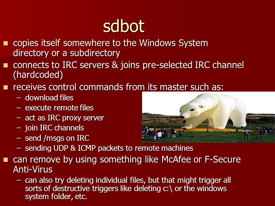 sdbot copies itself somewhere to the Windows System directory or a subdirectory copies itself somewhere to the Windows System directory or a subdirectory connects to IRC servers & joins pre-selected IRC channel (hardcoded) connects to IRC servers & joins pre-selected IRC channel (hardcoded) receives control commands from its master such as: receives control commands from its master such as: –download files –execute remote files –act as IRC proxy server –join IRC channels –send /msgs on IRC –sending UDP & ICMP packets to remote machines can remove by using something like McAfee or F-Secure Anti-Virus can remove by using something like McAfee or F-Secure Anti-Virus –can also try deleting individual files, but that might trigger all sorts of destructive triggers like deleting c:\ or the windows system folder, etc.