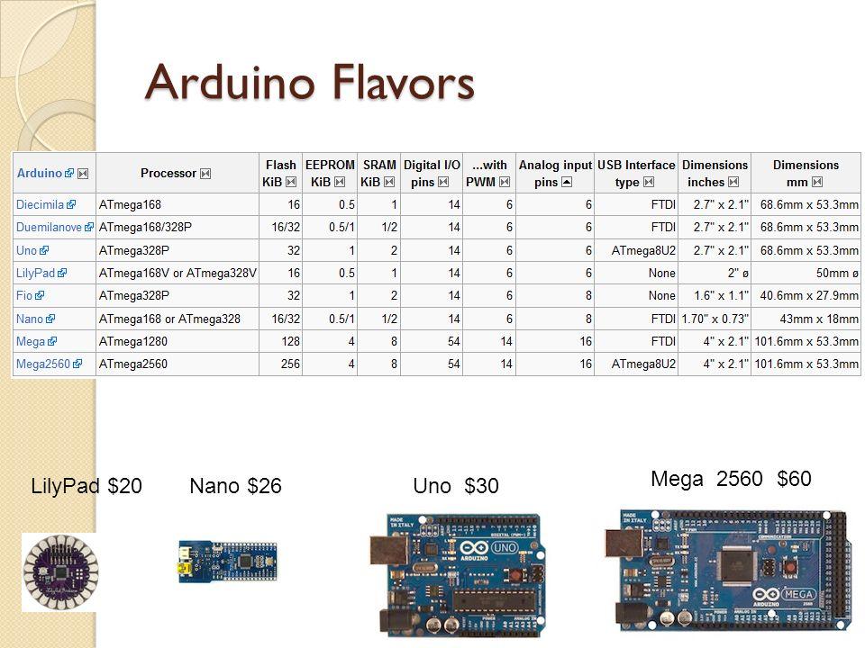 Arduino Flavors Mega 2560 $60 Uno $30LilyPad $20Nano $26