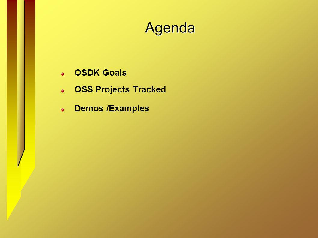 Agenda OSDK Goals OSS Projects Tracked Demos /Examples
