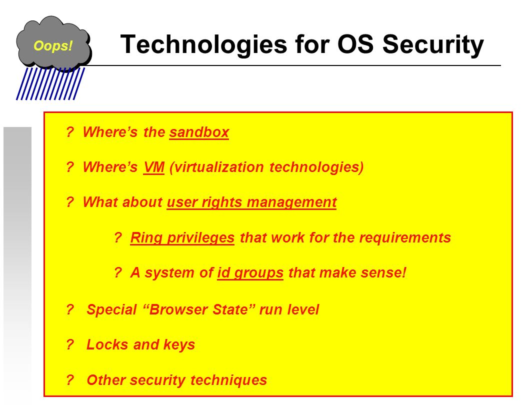 Technologies for OS Security . Wheres the sandbox .