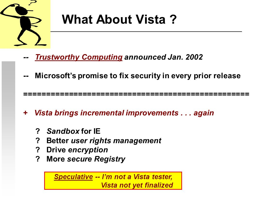 What About Vista . -- Trustworthy Computing announced Jan.