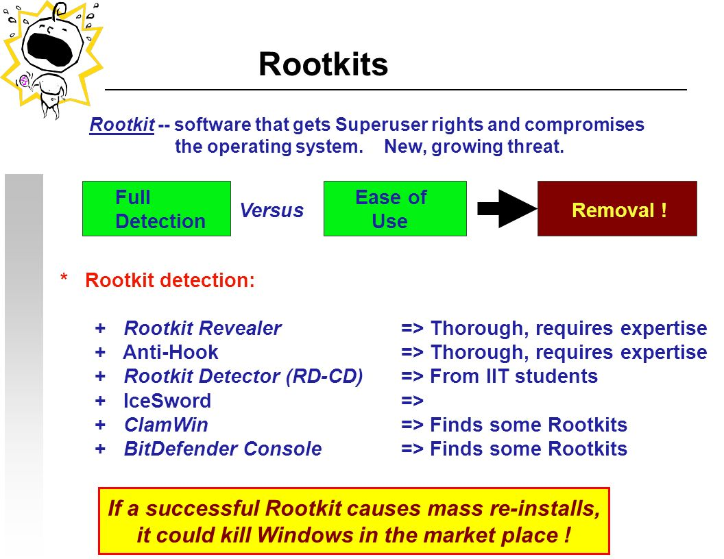 Rootkits * Rootkit detection: + Rootkit Revealer=> Thorough, requires expertise + Anti-Hook=> Thorough, requires expertise + Rootkit Detector (RD-CD)=> From IIT students + IceSword=> + ClamWin => Finds some Rootkits + BitDefender Console=> Finds some Rootkits If a successful Rootkit causes mass re-installs, it could kill Windows in the market place .
