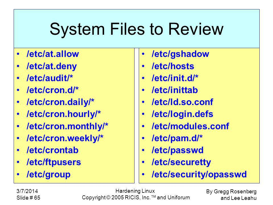 By Gregg Rosenberg and Lee Leahu 3/7/2014 Slide # 65 Hardening Linux Copyright © 2005 RICIS, Inc.