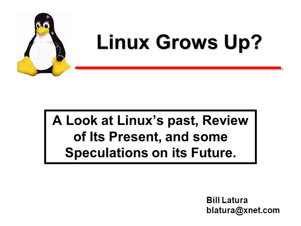 Linux Grows Up.A Look at Linuxs past, Review of Its Present, and some Speculations on its Future.