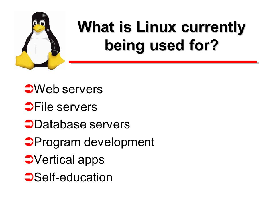 What is Linux currently being used for? Web servers File servers Database servers Program development Vertical apps Self-education